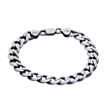 Sterling Silver Gunmetal Diamond-Cut Curb Chain Bracelet - $199.99