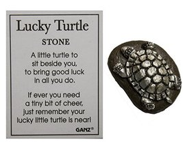 Ganz 1 Inch Lucky Turtle Pocket Stone with Story Card (Brown/Silver) - $74,26 MXN