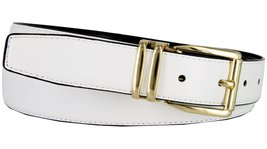 "Men's Reversible Genuine Leather Dress Casual Belt 1-1/8"" = 30mm wide - White... - $12.82"