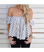 Women Off Shoulder Stripe Casual Blouse Shirt Tops - ₨1,084.89 INR