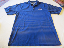Tommy Hilfiger Golf Mens short sleeve polo shirt L blue white striped EUC@ - $49.49