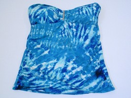 Calvin Klein Printed Bandeau Tankini Top Swimsuit, Blue, Sz. Small - $38.81
