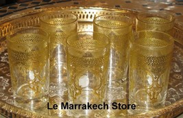 Gold Moroccan tea glasses - Moroccan tea glasses gold- Clear glasses wit... - $49.00