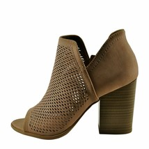 Soda CASTER Natural Women's Open Toe Perforated Stacked Booties - $31.95