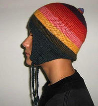 Colorful peruvian Chullo, Woolly Hat made of Alpacawool - $18.00