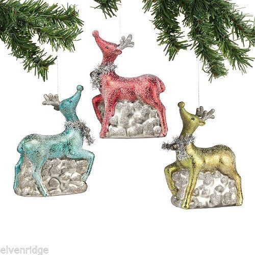 Frosted Glass Reindeer Ornament Vintage look NEW
