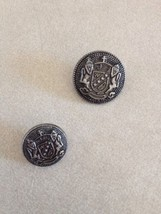 Pair Vintage Coat of Arms Silvertone Pewter Metal Shank Buttons 2cm 1.5cm - $11.04