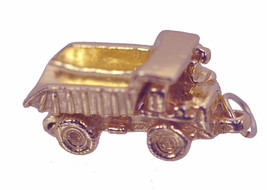 COOL 3D Rose Gold Plated silver DUMP TRUCK tip MOVABLE BED Charm constru... - $40.52