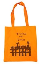 Cats and Pumpkins 14 Inch Safety Orange Canvas/Nylon Trick or Treat Bag - $143,42 MXN