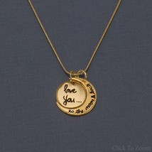 14 Karat Gold Plated .925 Silver Love You to the Moon and Back Charm Necklace
