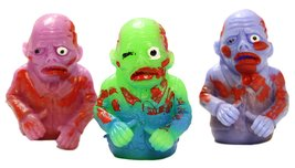 Set of Three 2.5 Inch Rubber Zombie Finger Puppets - Bobby Brains - $5.71