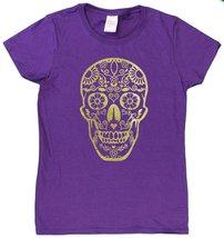 "Ladies De Los Muertos ""Day Of The Dead"" Skull Glittery Foil Print T-Shir... - $15.32"