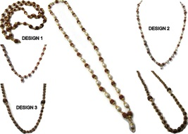 Rudraksha Mala With Golden Cap pearl 24 inch Indian Fashion Jewelry - $3.50