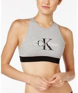 CALVIN KLEIN Retro CK Bralette GREY HEATHER Sil... - $53.55