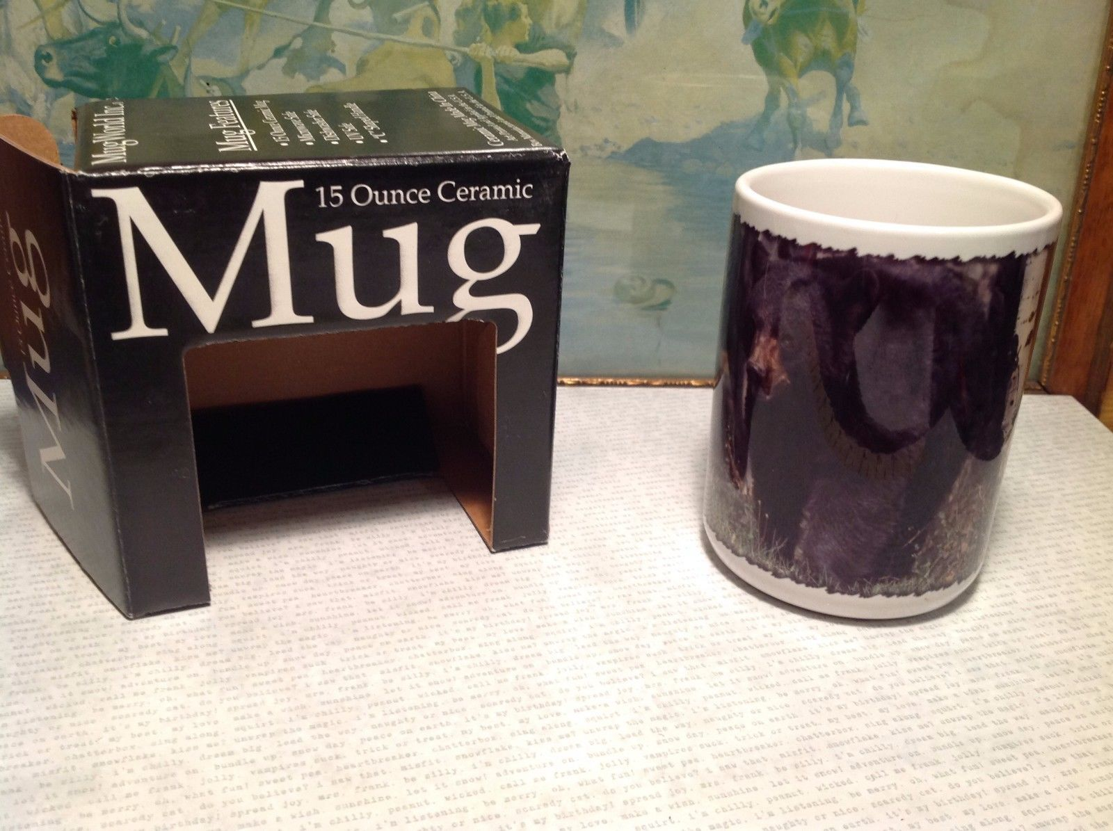 NEW 15oz Ceramic Mug with Black Bear