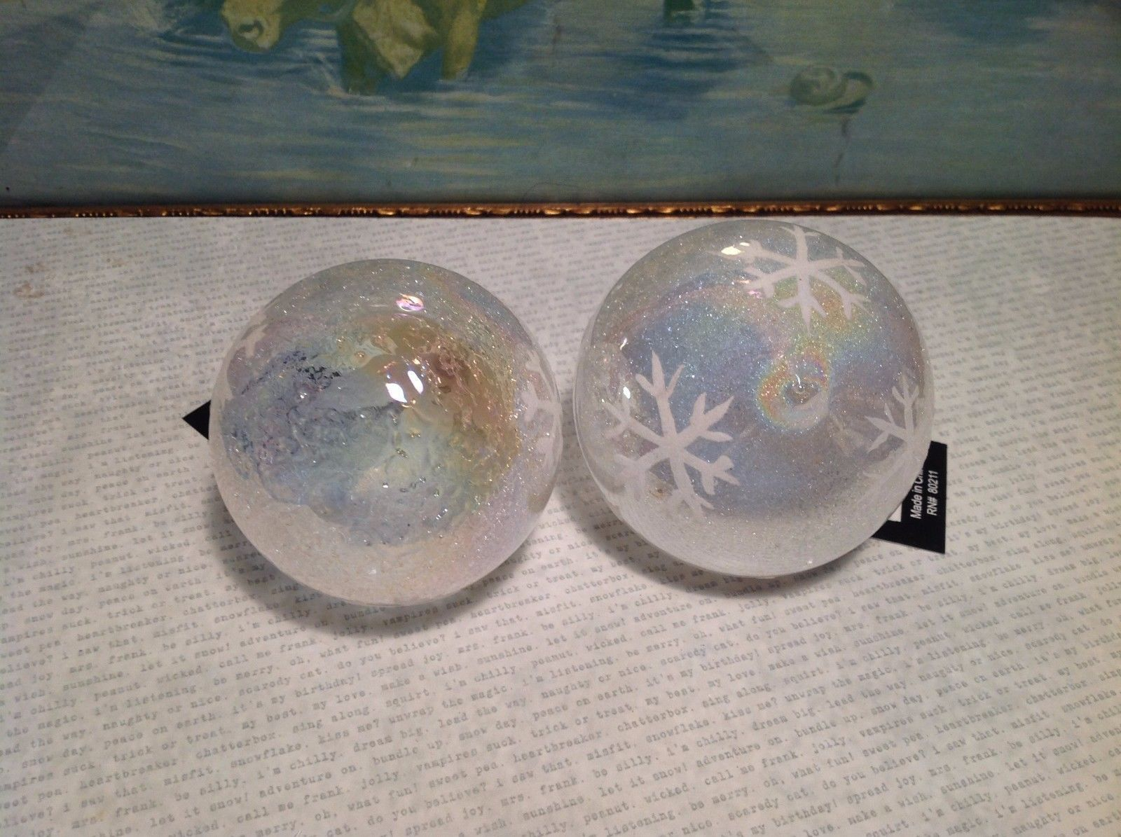 NEW Set of 2 Glass Ornaments w Snowflakes and Color Changing Glass
