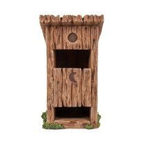 Miniature Fairy Garden Wooden Outhouse Toilet with Door Figurine Display... - $22.99