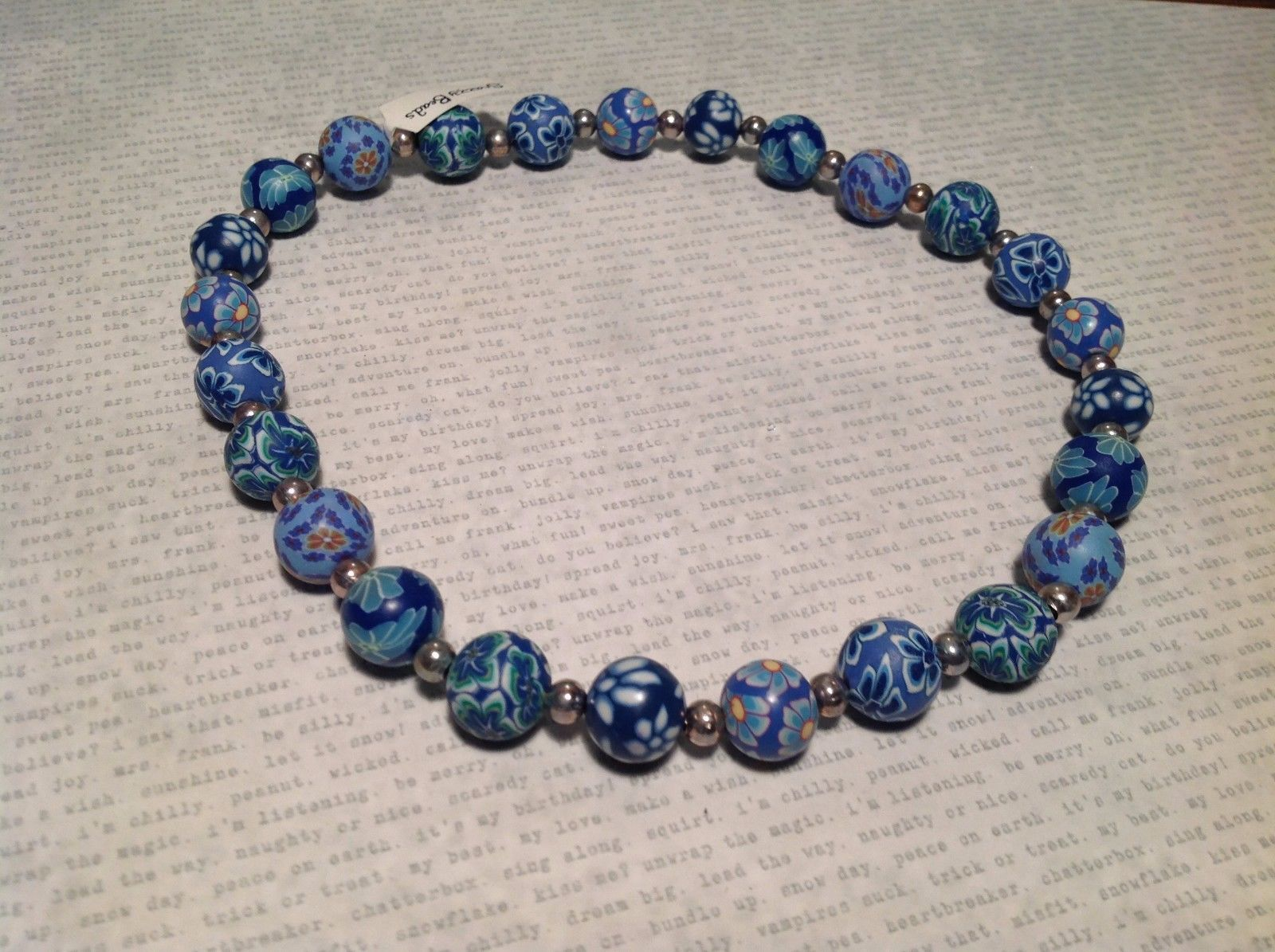NEW Blue Snazzy Silvertoned Beaded Necklace w Elastic Band