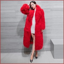 Dyed Long Mongolian Tibetan Lambs Wool Curly Hair Full Collar Genuine Fur Coat image 5