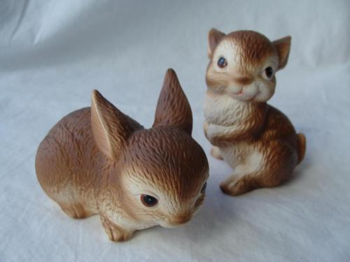 Vintage Lefton Brown Bunny Pair Easter Rabbits Stickers Numbered Hand Painted