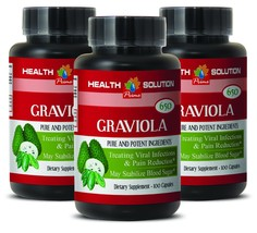 Organic GRAVIOLA - May Stabilize Blood Sugar Immune System Booster (3 Bo... - $30.81