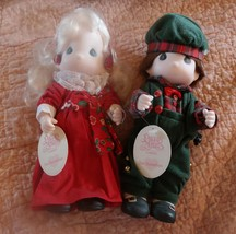Precious Moments Bisque Dolls 2 PC Christmas Ca... - $37.40