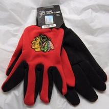 NHL NWT NO SLIP UTILITY WORK GLOVES - CHICAGO BLACKHAWKS - RED W/ BLACK ... - £8.58 GBP