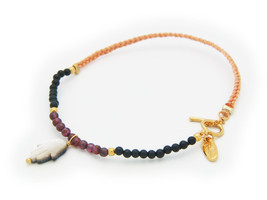 Silver Gold Plated Cord  Mini Garnets & Onyx Be... - $30.40