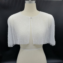 White Lace Bridal Wraps Cover-Ups Embroidery Lace Wedding Sequin Shawl Wrap Cape image 6
