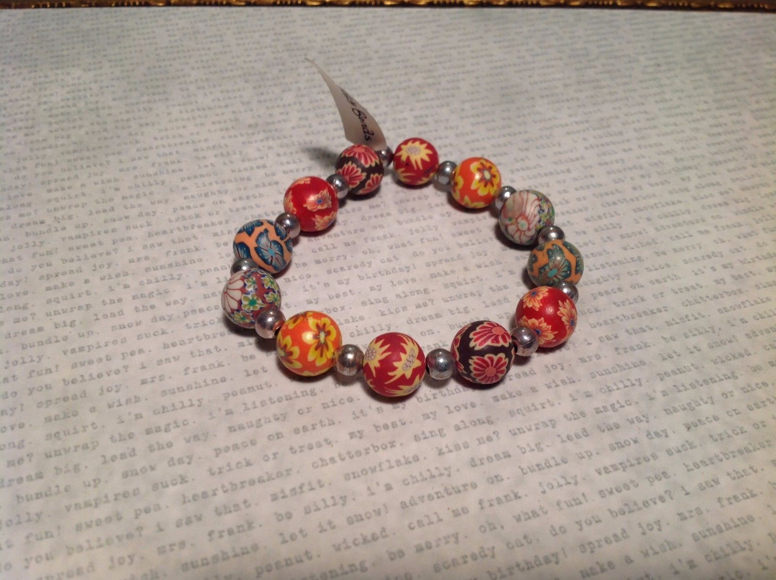 Multicolored Floral Patterned Silver Beaded Bracelet w Elastic Band
