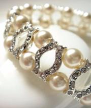 Swarovski Tennis Bracelet - Pearl Cubic Zirconia Flower Bridal Bracelet ... - $43.00