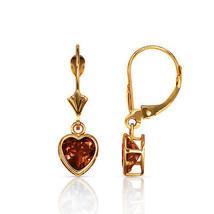 14K Solid Y Gold Bezel Set Alexandrite 6mm Heart Leverback Dangle Earrings - $93.04