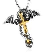 HZMAN Men's Cross Stainless Steel Dragon Sword Wing Pendant Necklaces - $25.38