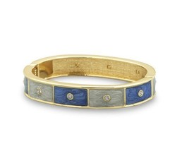 11mm Gold Tone Pearlescent Dark and Light Blue Enamel Hinged Fashion Bangle - $11.95