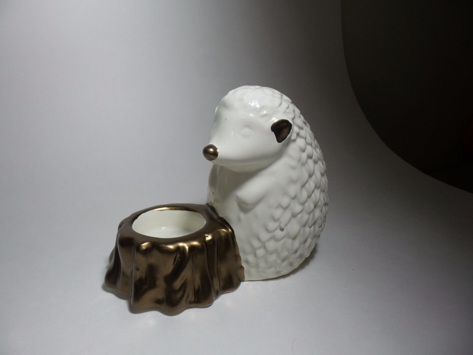 White Ceramic Hedgehog tealight candleholder with gold accents
