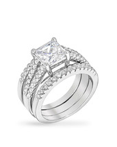 Princess Cut Cubic Zirconia Triple Bridal Set - $33.00