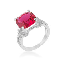 Charlene 6.2ct Ruby CZ Platinum Classic Statement Ring - $22.00