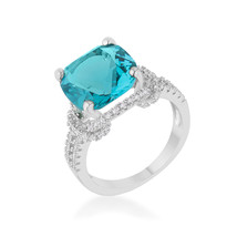 Charlene 6.2ct Aqua CZ Platinum Classic Statement Ring - $22.00