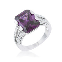 Rema 8.6ct Amethyst CZ Platinum Emerald Classic Cocktail Ring - $25.00