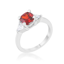 Shonda 1.8ct Ruby CZ Platinum Cushion Classic Statement Ring - $15.00