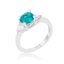 Shonda 1.8ct Aqua CZ Platinum Cushion Classic Statement Ring - $15.00