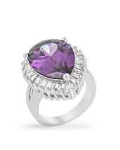 Cubic Zirconia Purple and Clear Cocktail Ring - $33.00