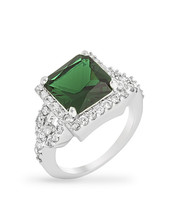 Halo Style Princess Cut Emerald Green Cocktail Ring - $28.00