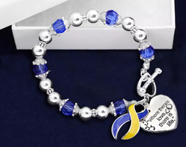 Blue & Yellow Where There is Love Ribbon Bracelet  Support Awareness Dow... - $10.95