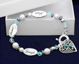 Teal Hope courage Strength Ribbon Bracelet  Support Awareness Ovarian Ce... - $10.95