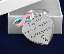 Pink & Blue Ribbon Key Chain Awareness Support Pregnancy and Infant Loss... - $10.95
