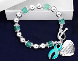 Teal Where There is Love Ribbon Bracelet  Support Awareness Ovarian Cerv... - $10.95