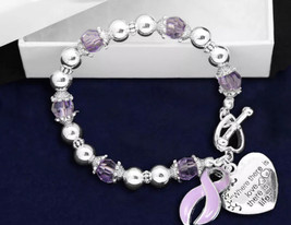 Lavendar Lavender Ribbon Bracelet Support Awareness Epilepsy Hodgkins Ly... - $10.95