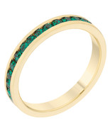 Stylish Stackables Eternity Green Crystal Ring - $11.00