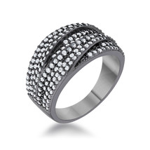 Kina 1.7ct Clear And Jet Black CZ Hematite Contemporary Cocktail Ring - $33.00